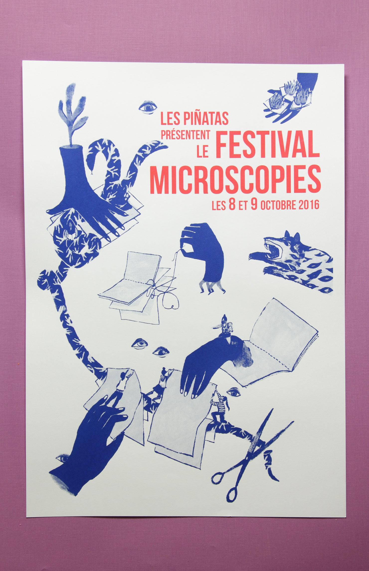 L'affiche de Microscopies A2 - sérigraphiée main par l'atelier Sabordage - 12€