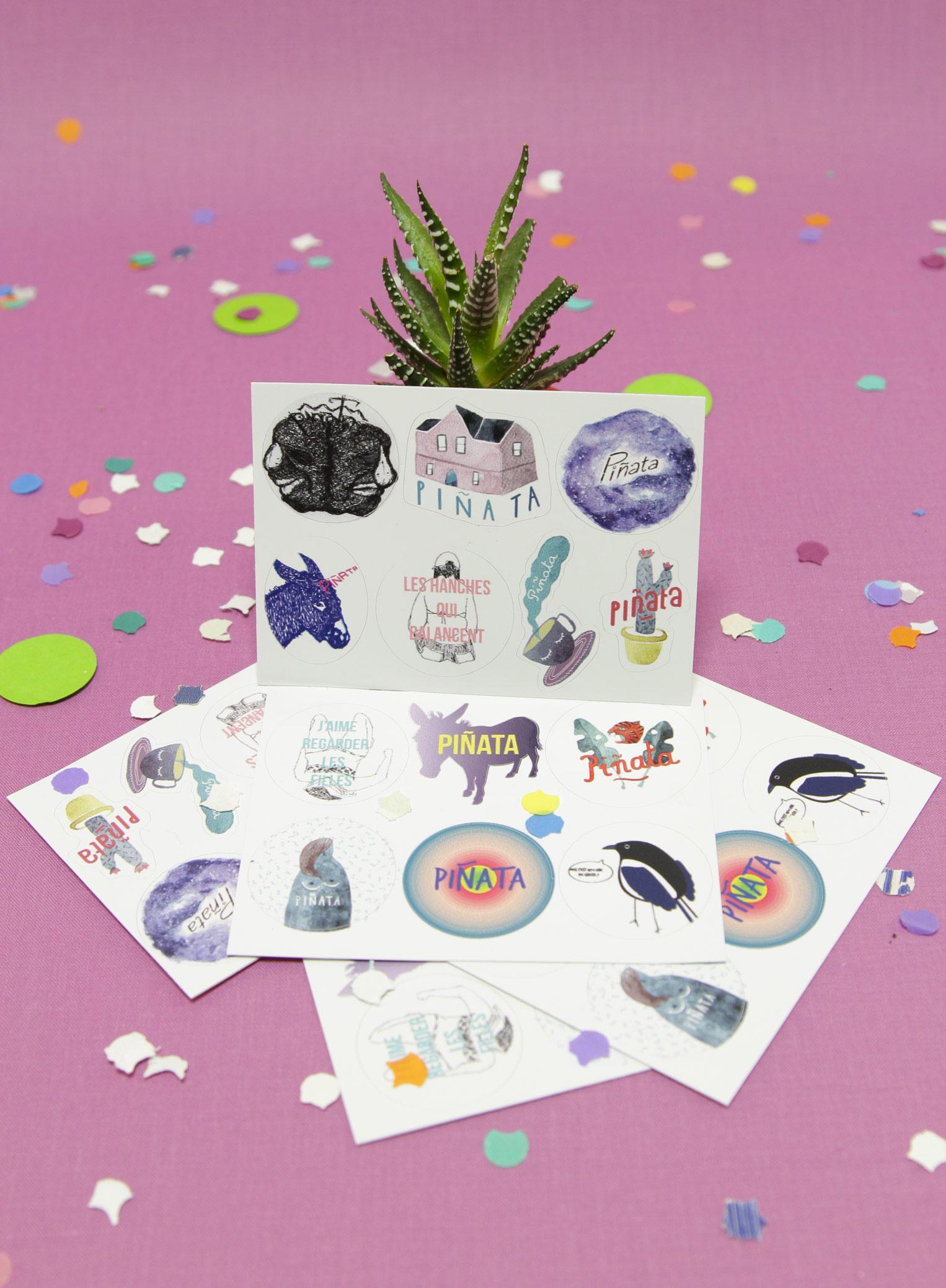Les Stickers Piñata (environ 3cm le stickers) - planche de 6 stickers : 3€ / 2 planches : 5€